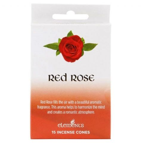 Red Rose Scented Incense Cones Elements Indian - Box Of 15